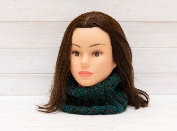 Soft, chunky teal and brown knitted neckwarmer