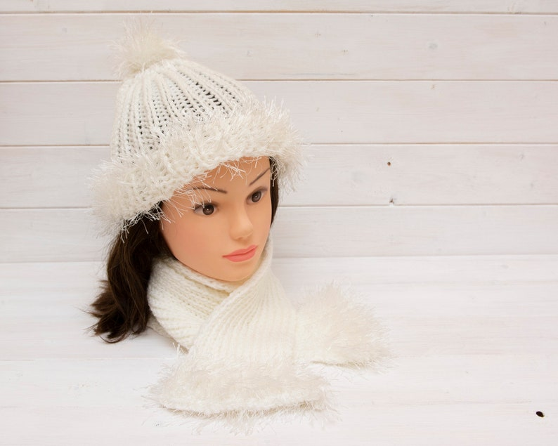 White knitted snowball hat and scarf set  Fun bobble hat  image 0