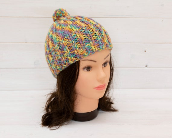 Kids' knitted ribbed bobble hat - Bright pastel colours