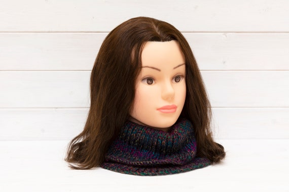 Large knitted neck warmer / cowl in dark stripes