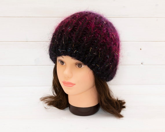 Adult black beanie hat with sparkly mohair thread