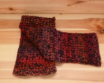 Fiery red and black knitted scarf