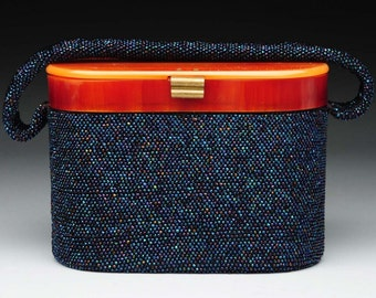 1930s Vintage Bakelite Beaded Purse, 1940s Box Purse, 30s Handbag, 40s Evening Bag, Carnival Beads, Iridescent Glass,  Retro Pin Up Girl