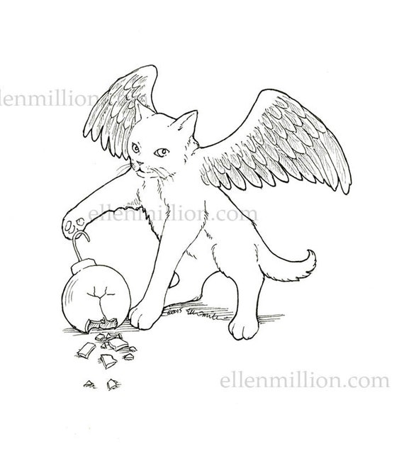 Items Similar To Winged Kitten Digi Stamp Digital Coloring Page