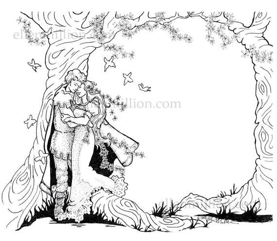 Fantasie Bruiloft Digi Stempel Digitale Kleurplaat Voor Etsy