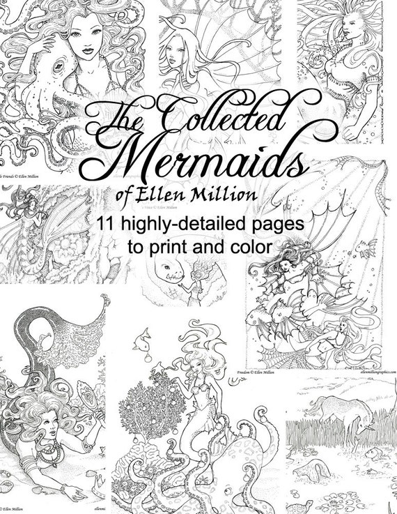 Mermaid Coloring Pages for Adults - 11 highly-detailed hand-drawn fantasy  images to print and color