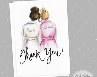 Thank you! Bridesmaid Card: PDF Dark Brunette Bride and Dark Blonde Bridesmaid, Thank you card PDF printable card