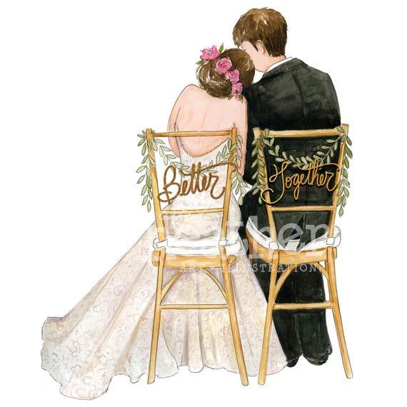 Wedding Hairstyles Drawing: Bride And Groom Illustration Bride And Groom Art Print