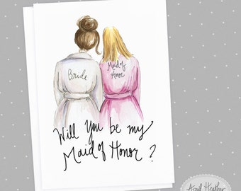 Bridesmaid PDF Brunette Bride and Blonde Maid of Honor, Will You Be My bridesmaid card PDF printable card