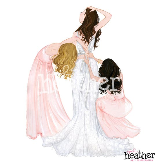 Wedding Hairstyles Drawing: Bride With Bridesmaids Illustration Wedding Party Bridal