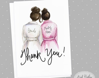 Thank you Bridesmaid PDF |  Dark Brunette Bun Bride and Dark Brunette Bun Maid of Honor| Thank you card |  PDF printable card