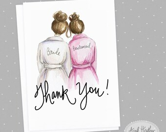Thank you! Bridesmaid PDF Brunette Bun Bride and Brunette Bun Bridesmaid, Thank you card PDF printable card