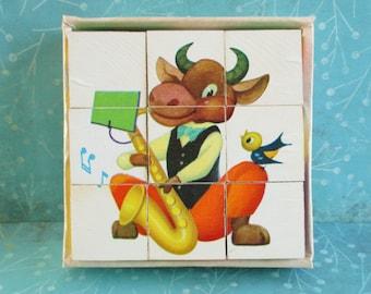 SALE Vintage Picture Cubes Childrens Puzzle