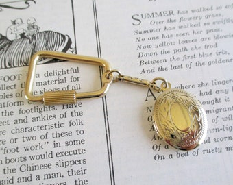 Vintage Gold Toned Locket Key Chain