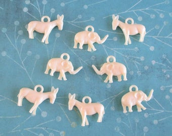Eight Vintage Plastic Political Charms - Donkeys and Elephants