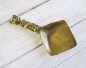 Vintage Brass Cat Tea Spoon Scoop