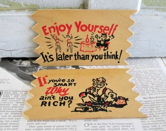 Pair of Vintage Wooden Humorous Post Cards
