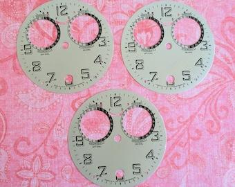 Three Vintage Metal Waterbury Clock Faces
