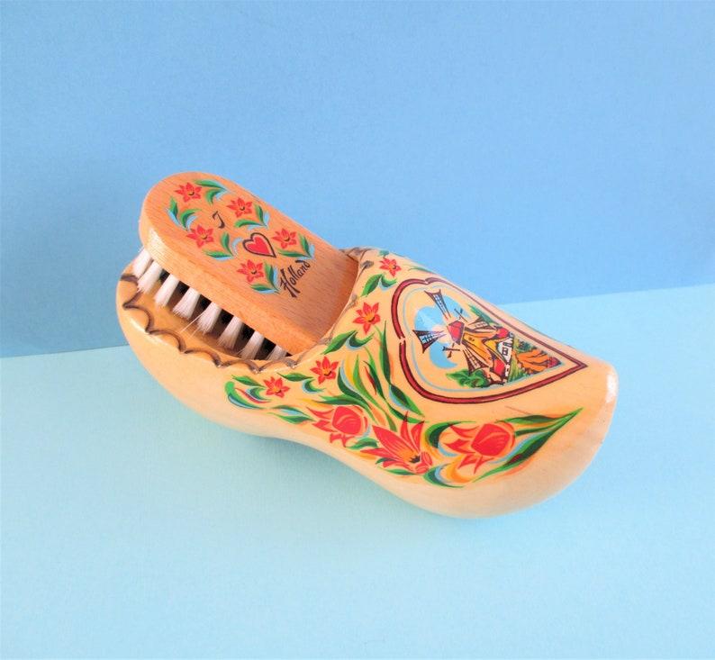 Vintage Souvenir Wooden Shoe And Brush Holland Michigan
