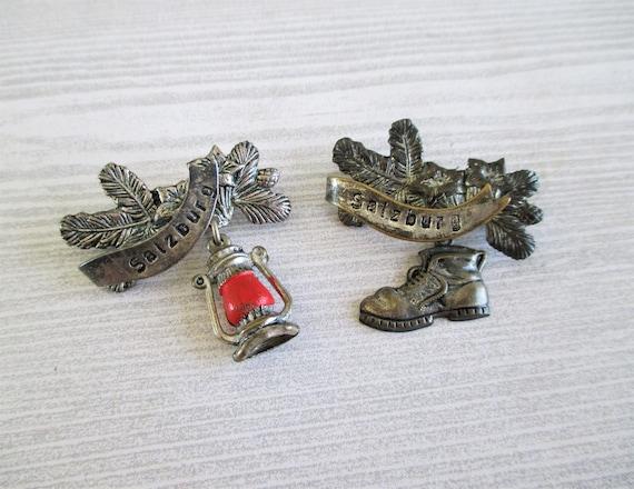 Pair of Vintage German / Salzburg Hat Pins - Boot and Lantern