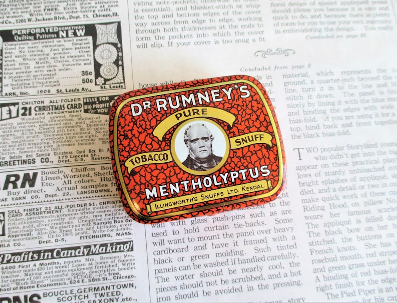 Vintage Dr  Rumney's Pure Tobacco Snuff Tin