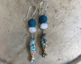 Mermaid Pearl Earrings Blue Lava Rock and Sterling Silver