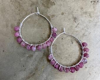 Red Tourmaline Pink Gemstone Hoops Earrings