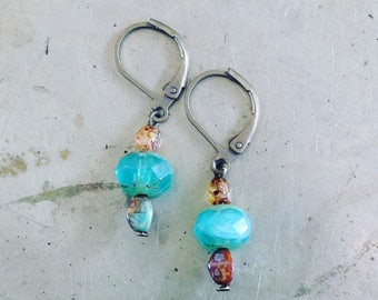 Blue Glass Earrings Picasso Beads Antiqued Brass