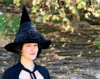 Witch Hat, Halloween Costume Hat, Black Velvet Witches Hat, Adult Wicked Witch Costume