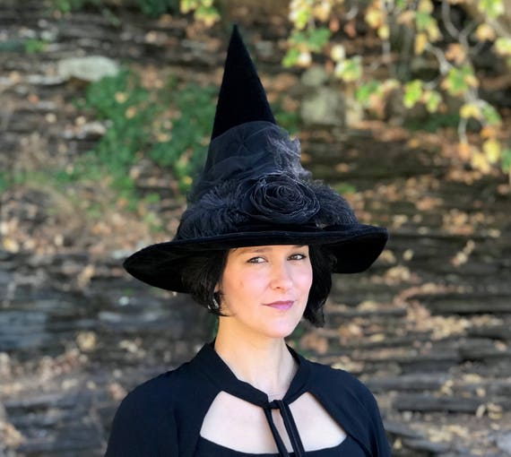95b98e24115 Witch Hat Halloween Costume Hat Black Velvet Witches Hat