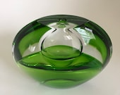 Kosta Boda Orrefors Emerald Green and Crystal Clear Glass Art Vase Flat Round Teardrops