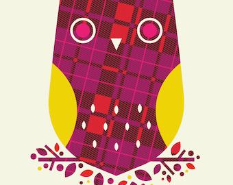 plaid owl pattern print