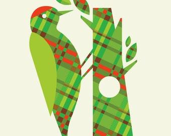 plaid woodpecker pattern print