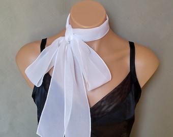 White Skinny Scarf, White Chokers, Skinny Scarves, Skinny Mini Scarf, White Necktie, Neckerchief, White Neckerchief, Free Shipping, Ascot