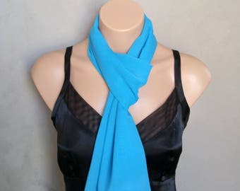 Blue Scarf, Blue Chiffon Scarf, Skinny Scarves, Sheer Scarves, Chiffon Scarves, Women's Scarves, Gifts for Her, Free Shipping, Scarves Blue