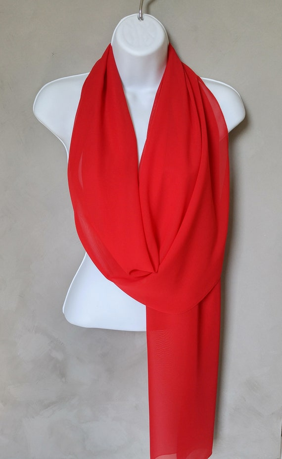 Wedding Wrap, Bridesmaid Scarf, Wedding Scarf, Wedding Shawl, Bridal Shawl, Stole, Red Scarf, Chiffon Wedding, Red Scarves, Red Wraps, Sheer
