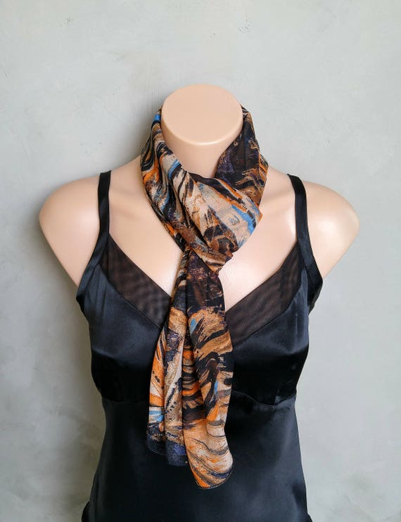 Orange Abstract Sheer Chiffon Skinny Scarf, Brown Chiffon Scarf, Brown Abstract Scarf, Orange Scarf, Brown Scarf, Blue Scarf, Sheer Scarf