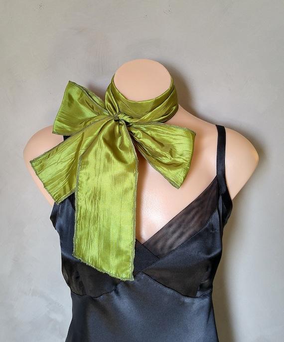 Skinny Scarves, Lime Green Scarf, Daphne Scarf, Choker Scarves, Green Skinny Scarf, Green Taffeta Scarf, Long Green Scarf, Green Slim Scarf