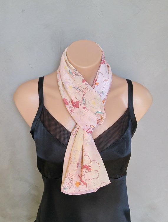 Pink Floral Scarf, Peach Scarf, Chiffon Scarves, Floral Scarves, Pink Chiffon Scarf, Floral Chiffon Scarf, Floral Pink Scarf, Free Shipping