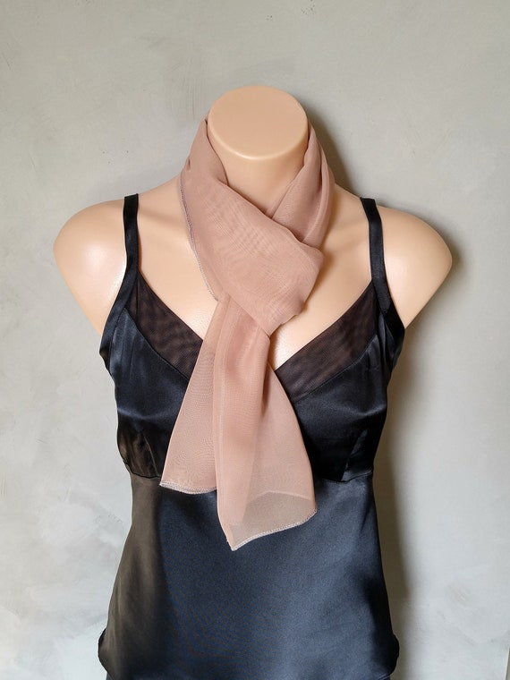 Skinny Scarf, Skinny Scarves, Chiffon Scarf, Sheer Scarf, Natural Sheer Scarf, Gift for Women, Gift for Her, Gifts Under 10, Clearance Scarf