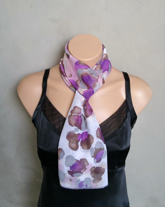 Purple Scarf, Skinny Scarf, Purple Skinny Scarf, Summer Scarves, Violet Scarf, Iris Scarf, Lilac Scarf, Sheer Chiffon Scarf, Abstract Scarf
