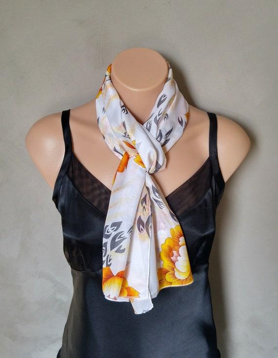 Floral Scarf, Sheer Scarves, Chiffon Scarf, Orange Scarf, Orange Blossom Scarf, Orange Floral Scarf, White Scarf, White Chiffon Scarf, Wrap