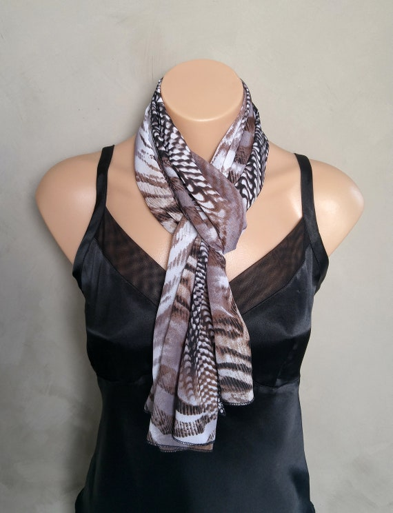 Zebra Print Scarf Sheer Chiffon Black Brown Animal Design Scarf Zebra Design Scarf Animal Print Scarf
