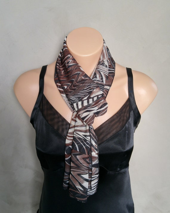 Gift for Her, Gift Under 20, Sheer Black Scarf, Abstract Scarves, Sheer Abstract Scarf, Chiffon Black Scarf, Fashion Scarves, Unique Scarf