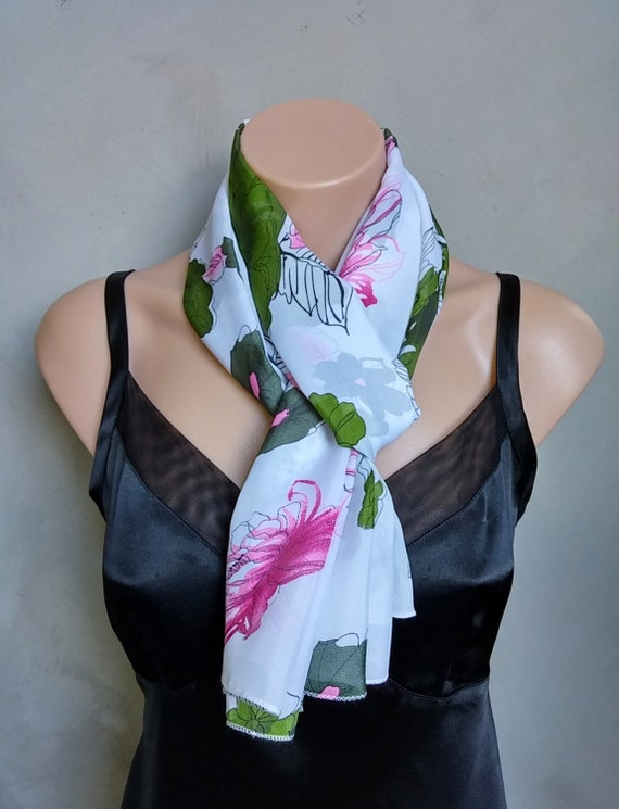 White Scarf, Floral Scarves, Chiffon White Scarf, Floral Chiffon Scarf, Chiffon Scarves, Sheer Chiffon Scarf, White Scarves, Free Shipping