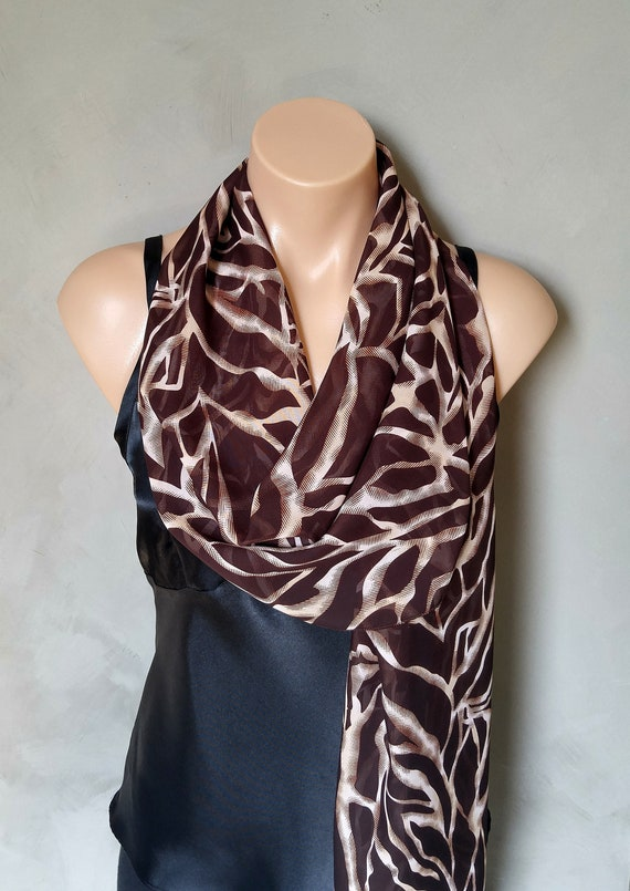 Skinny Scarf, Brown Scarf, Animal Print Scarf, Skinny Brown Scarf, Chiffon Scarves, Sheer Brown Scarf, Sheer Scarves, Scarves, Sheer Scarf