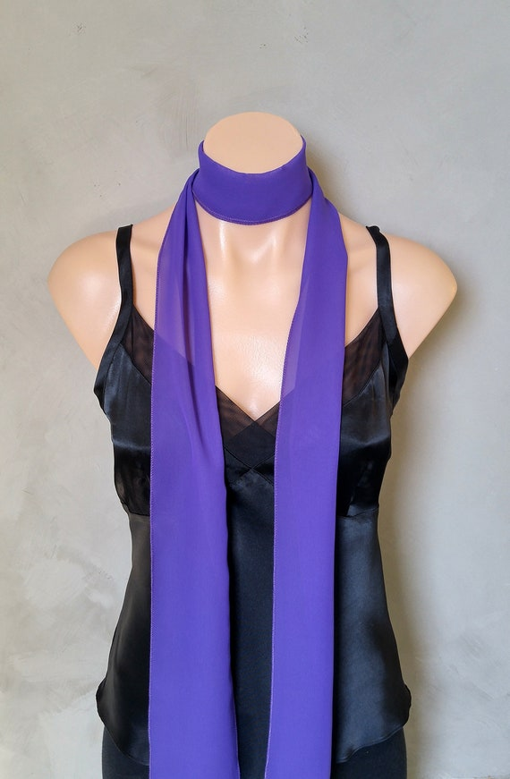 Choker Scarf, Skinny Scarf, Wrap Scarf, Purple Skinny Scarf, Purple Thin Scarf, Long Thin Scarves, Choker Wrap Scarf, Sheer Purple Scarf