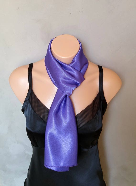 Purple Scarf, Purple Satin Scarf, Skinny Scarf, Reversible Scarf, Purple Skinny Scarf, Purple Scarves, Satin Scarf Purple, Plum Scarves