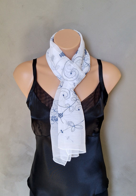 White Scarf, Blue Scarf, Skinny Scarf, Floral Scarf, Sheer White Scarf, Embroidered Scarf, Blue Floral Scarf, Sheer Scarf, Gift for Her