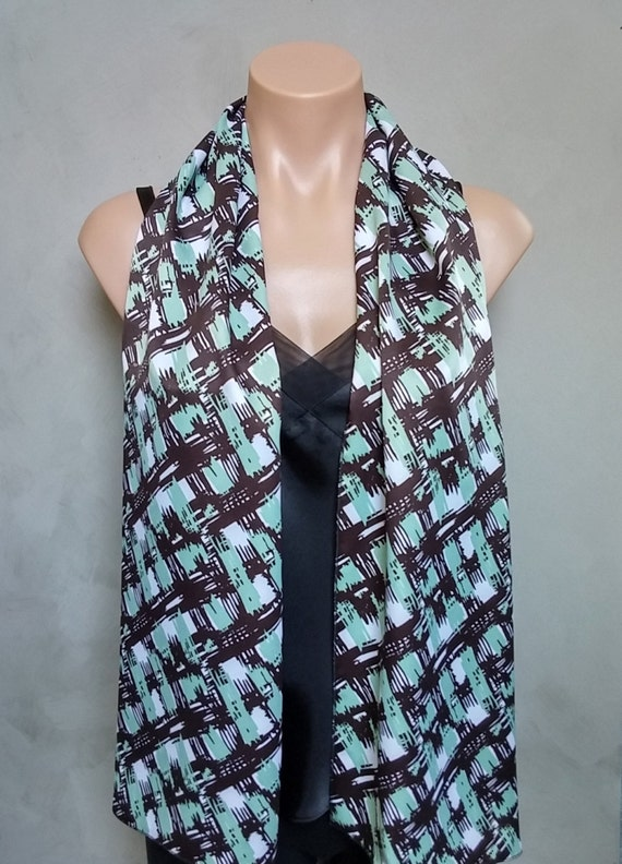 Black Scarf, Black Satin Scarf, Green Scarf, Abstract Scarf, Green Satin Scarf, Black Abstract Scarf, Green Abstract Scarf, Satin Scarf